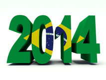 2014 Brazil. New year 2014 with Brazilian flag colors. 3d render illustration Stock Image