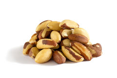 Brazil nut. Front view. White background. Selective focus. Stock Photo