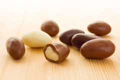 Brazil nuts in chocolate Royalty Free Stock Image