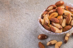 Brazil nuts with copy space Royalty Free Stock Photo