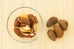 Brazil nuts in glass bowl and some nut in the shell Royalty Free Stock Photos