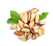Brazil nuts with green leaves on white background. Top view royalty free stock image