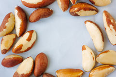 Brazil nuts over the white fabric material. Stock Photos