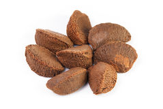 Brazil nuts. On a white background Royalty Free Stock Image