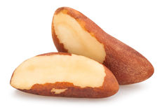 Brazil nuts. On white background Royalty Free Stock Image