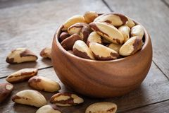 Brazil nuts in wooden bowl Royalty Free Stock Image