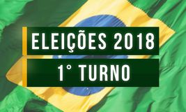 First round, Presidential elections in Brazil. Brazil - October 08, 2018: Illustrative advertisement banner of the 2018 first round of presidential elections in royalty free stock image