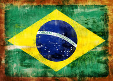 Brazil old painted flag Stock Images