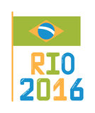 Brazil olympic flag flat vector illustration. Brazil 2016 flag flat vector illustration. Brazil olympic flag. Brazil 2016 flag vector. Brazil olympic flag rio Stock Illustration