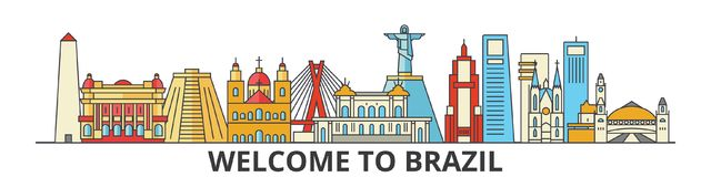 Brazil outline skyline, brazilian flat thin line icons, landmarks, illustrations. Brazil cityscape, brazilian travel. Brazil outline skyline, brazilian flat thin royalty free illustration