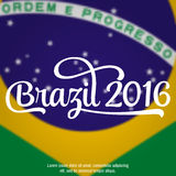2016 Brazil. Patriotic banner for website template, cards, posters, logo, brochure.. 2016 Brazil. Typographic concept. Vector Stock Photos
