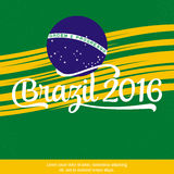 2016 Brazil. Patriotic banner for website template, cards, posters, logo, brochure. Typographic concept. Vector illustration. Brazil logo on the green Royalty Free Stock Photography
