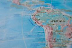 Brazil and Peru in close up on the map. Focus on the name of country. Vignetting effect.  royalty free stock photos