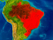 Brazil on physical map. Brazil highlighted in red on physical map. 3D illustration. Elements of this image furnished by NASA Stock Photo