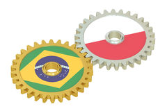 Brazil and Poland flags on a gears, 3D rendering Royalty Free Stock Image