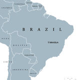 Brazil political map. With capital Brasilia, national borders and neighbors. Federal republic and country in South America. Gray illustration isolated on white Stock Photos