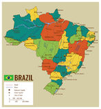 Brazil political map with selectable territories. Vector Royalty Free Stock Photo