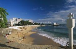 Brazil: Port da Barra Beach in Salvador de Bahia stock photography
