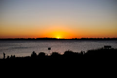 Brazil Porto Alegre Sunset Sea Silhouette stock photos