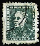 Brazil postage stamp shows military officer, politician and monarchist, Luis Alves de Lima e Silva, Duke of Caxias, circa 1954 Royalty Free Stock Images