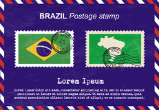 Brazil Postage stamp, vintage stamp, air mail envelope. Stock Images