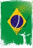 Brazil poster. Jesus statue on the brazil flag Stock Photos