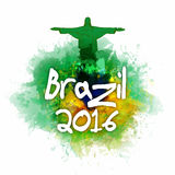 Brazil 2016 Poster, Banner or Flyer design. Stylish Text Brazil 2016 with illustration of Christ the Redeemer on abstract colorful background, Can be used as Royalty Free Stock Photos