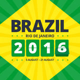 Brazil 2016 poster. Rio de Janeiro 2016 flyer. Abstract illustration in brazil flag colors - green and yellow. Flip mechanical numbers. Vector illustration in Royalty Free Stock Image