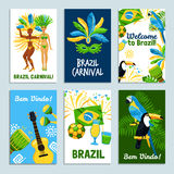 Brazil Poster Set. Set of colorful posters with traditional elements of brazil nature and culture vector illustration stock illustration