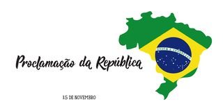 Brazil proclamation of the republic Day greeting card. text in Portuguese: November 15 proclamation of the republic. Vector illustration. Design concept banner royalty free illustration