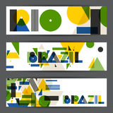 Brazil and Rio banners in abstract geometric style. Design for covers, tourist brochure, advertising background Royalty Free Stock Photography