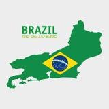 Brazil rio de janeiro map and flag Stock Images