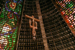 Brazil Rio de Janeiro the new Cathedral interior with vitrals an Stock Image