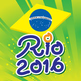 Brazil 2016 Rio de Janeiro Olympic Games. Banner in abstract colors of the Brazilian flag Stock Photos