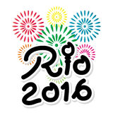 Brazil 2016 Rio de Janeiro Olympic Games banner. With fireworks background Royalty Free Stock Image