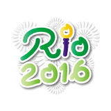 Brazil 2016 Rio de Janeiro Olympic Games banner. With fireworks background Stock Image