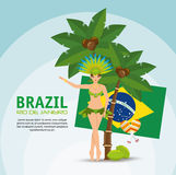 Brazil rio de janeiro poster garota flag coconut palm vector illustration