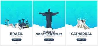 brazil Rio de Janeiro Tempo di viaggiare Insieme dei manifesti di viaggio Illustrazione piana di vettore illustrazione vettoriale