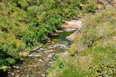 Brazil river. Clear water at Tocantins River. National park of Chapada dos Veadeiros. Goias Estate, Brazil Royalty Free Stock Photography