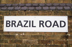 Brazil road sign. Sign on a wall in Southampton docks for Brazil Road Royalty Free Stock Photos