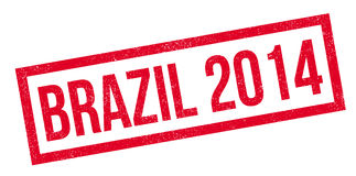 Brazil 2014 rubber stamp. Grunge design with dust scratches. Effects can be easily removed for a clean, crisp look. Color is easily changed Stock Photos