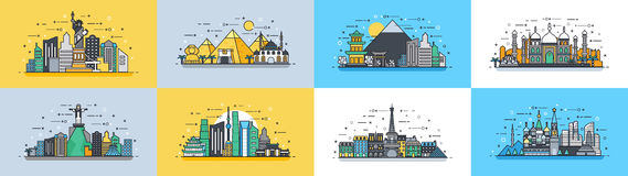 Brazil Russian France, Japan, India, Egypt China USA architecture buildings town city country travel icon linear style. Vector horizontal illustration background Royalty Free Stock Images