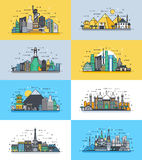 Brazil Russian France, Japan, India, Egypt China USA architecture buildings town city country travel icon linear style. Vector vertical illustration background Stock Photo