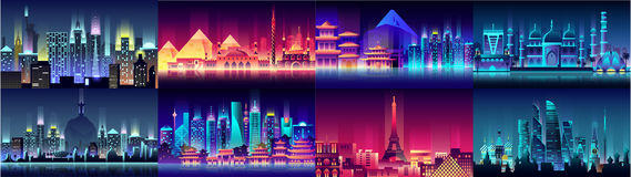 Brazil Russian France, Japan, India, Egypt China USA city night neon style architecture buildings town country travel Royalty Free Stock Photos