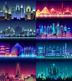Brazil Russian France, Japan, India, Egypt China USA city night neon style architecture buildings town country travel Royalty Free Stock Photo