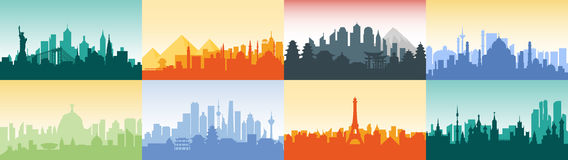 Brazil Russian France, Japan, India, Egypt China USA silhouette architecture buildings town city country travel Royalty Free Stock Image