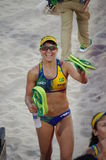Brazil's Larissa Franca at Rio2016. Brazil's Larissa Franca, all-time leader of beach volleyball titles. In Rio2016 with her partner Talita Antunes, she finished stock photography