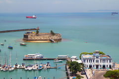 Brazil. Salvador. Port. Fort. Salvador is the historical capital of Brazil 1549-1763. Its main value are the surviving monuments of the colonial period Royalty Free Stock Photos