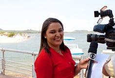 Brazil, Santarem /Alter do Chao: Brazilian TV Reporter - Portrait Stock Photography