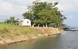 Brazil, Santarem: Living at the Amazon River - Waterfront Home Royalty Free Stock Images